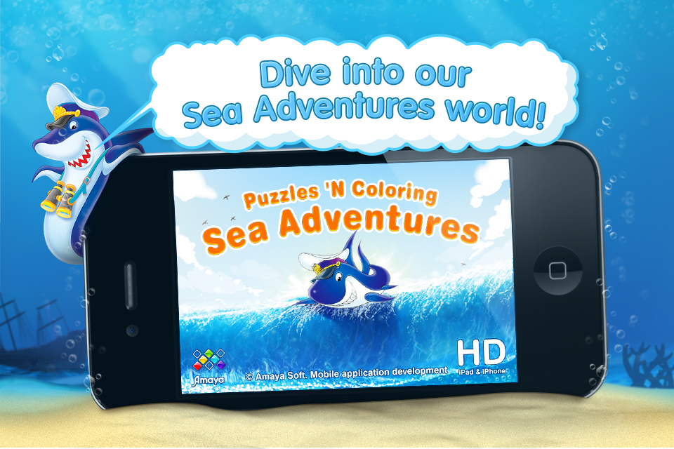 Screenshot Puzzles 'N Colouring – Sea Adventures. 2 jigsaw puzzles, 2 coloring pages, games for kids category